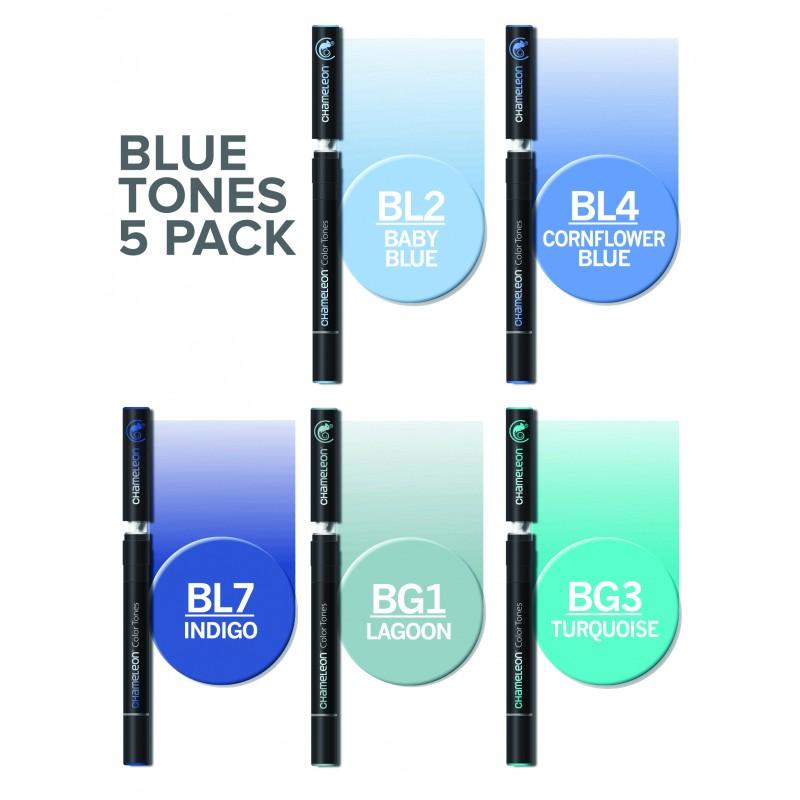 Chameleon 5支裝漸變色marker 藍色系列