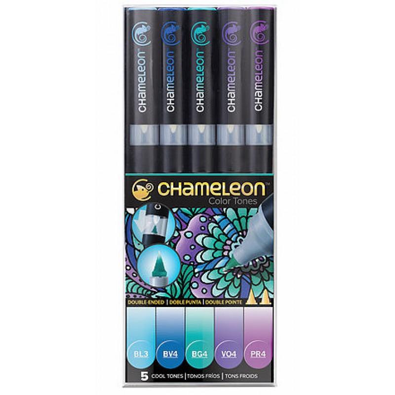Chameleon 5支裝漸變色marker 冷色系列