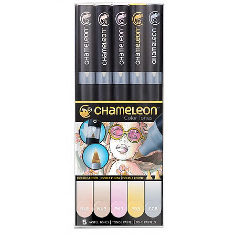 Chameleon 5支裝漸變色marker 粉色系列